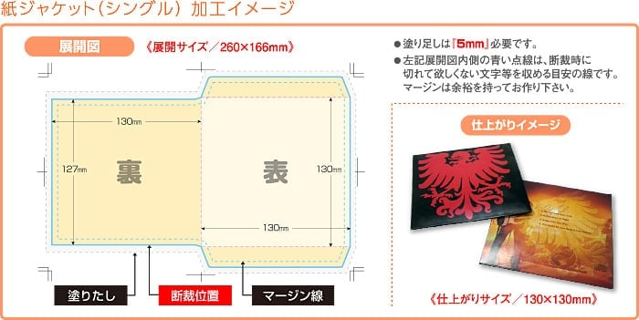 紙ジャケット(シングル)加工イメージ