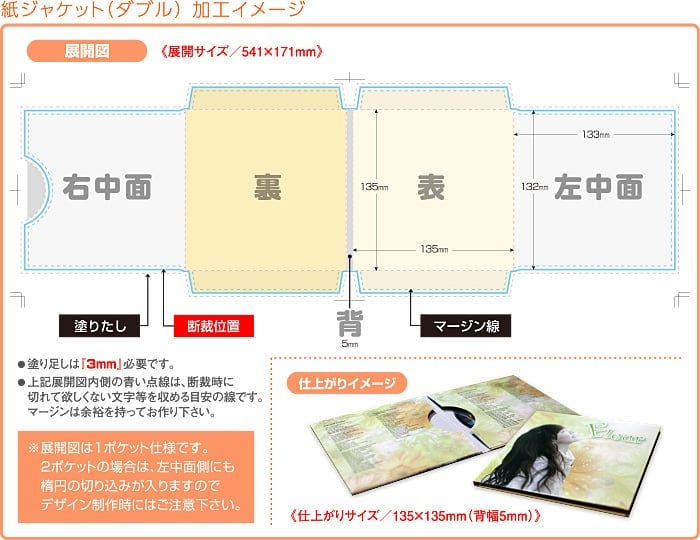 紙ジャケット(ダブル)加工イメージ
